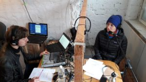 Technik und Moderation im neuen FRBB-Studio (Haus der Statistik)